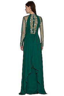 Irish Green Embroidered Gown by VIVEK PATEL