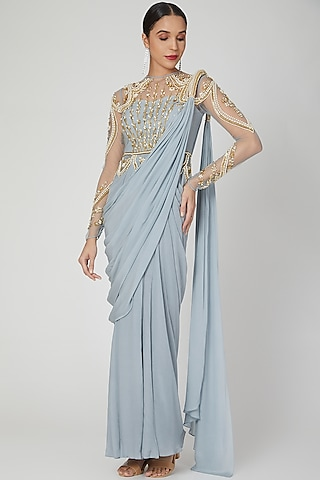 Frost Blue Embellished Saree Gown by VIVEK PATEL