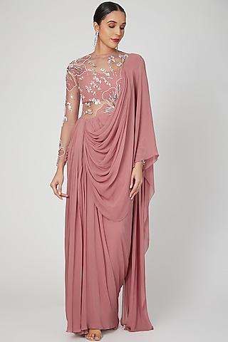 Rose Pink Hand Embellished Saree Gown by VIVEK PATEL
