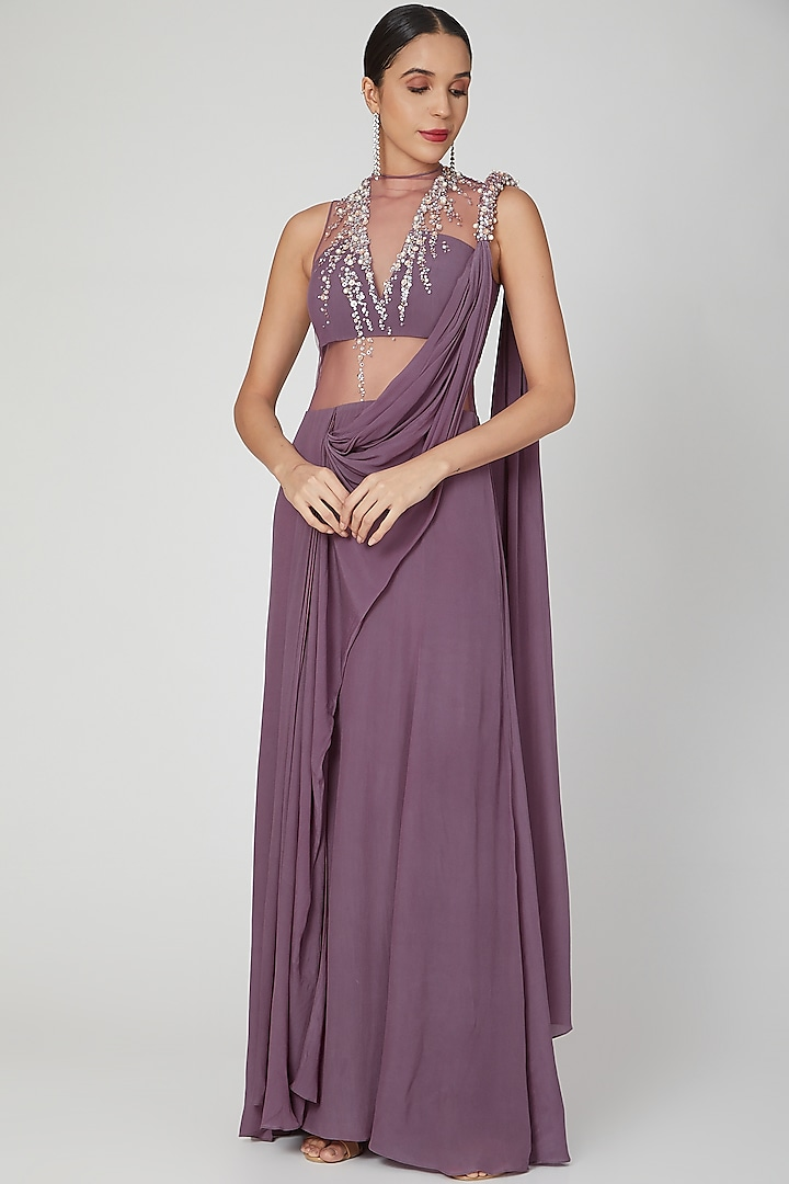 Purple Hand Embellished Saree Gown by VIVEK PATEL
