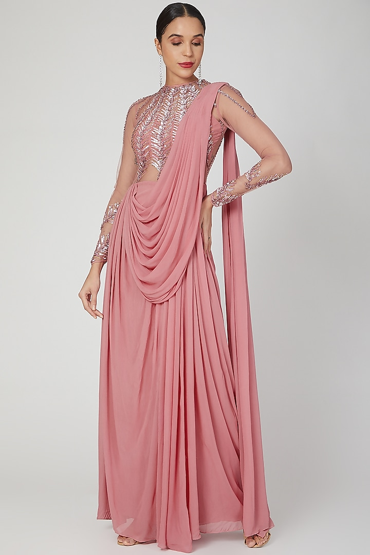 Rose Pink Linear Embellished Saree Gown by VIVEK PATEL