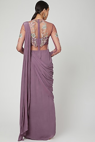 Mauve Embellished Saree Gown by Vivek Patel