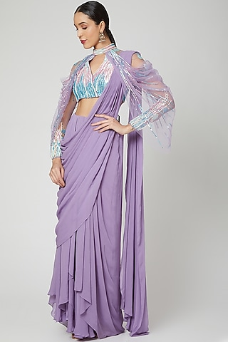Lavender Embellished & Pleated Saree Gown by Vivek Patel