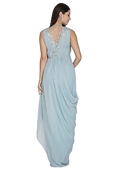 Frost Blue Embellished Gown by VIVEK PATEL