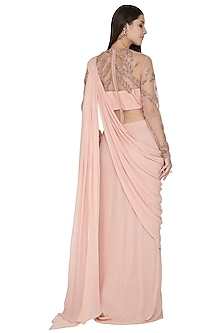 Pearl Pink Embroidered Saree Gown by VIVEK PATEL