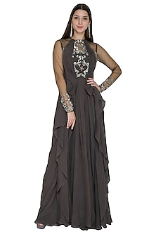 Grey Embellished Gown With Drape by VIVEK PATEL