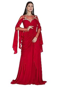 Red Embroidered Saree Gown by VIVEK PATEL