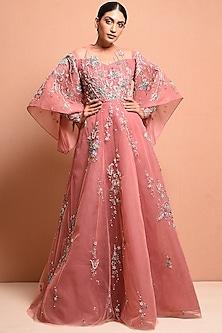 Blush Pink Embellished Gown by Vivek Patel