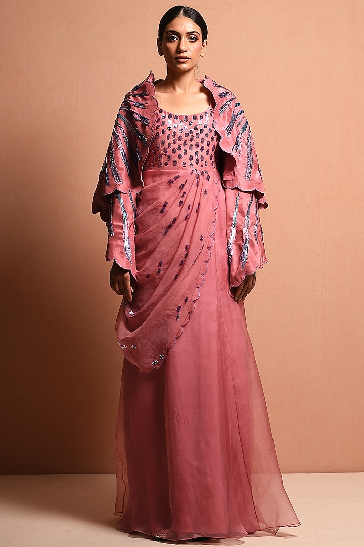 Blush Pink Embellished Saree Gown With Jacket by Vivek Patel
