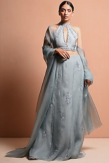 Sky Blue Embellished Saree Gown Set by Vivek Patel