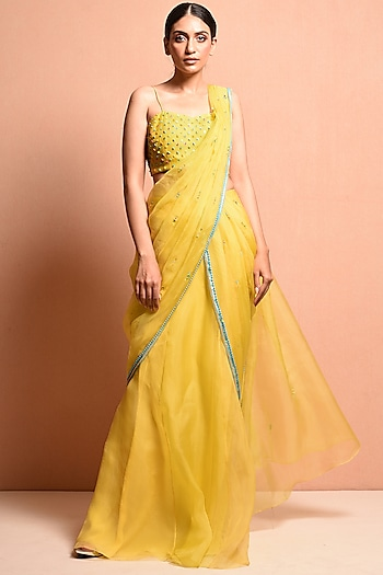 Yellow Embellished Saree Gown Set by Vivek Patel