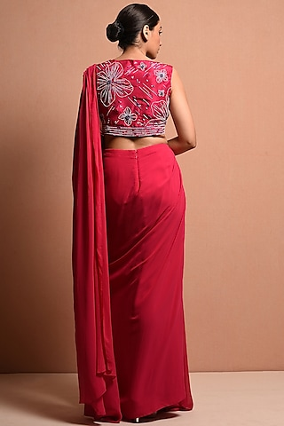 Fuchisa Pearls Embellished Saree Gown Set by Vivek Patel