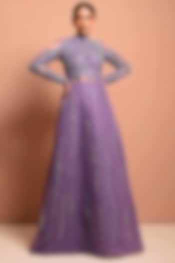 Purple Pearls Embellished Gown by Vivek Patel