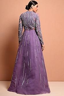 Purple Pearls Embellished Saree Gown by Vivek Patel