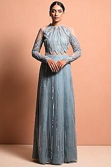 Sky Blue Embellished Saree Gown by Vivek Patel