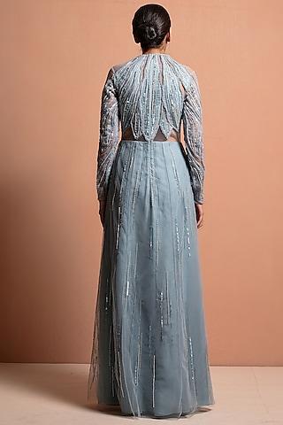 Sky Blue Embellished Gown by Vivek Patel
