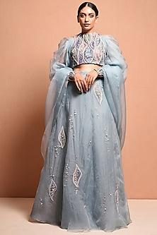 Sky Blue Hand Embellished Gown by Vivek Patel