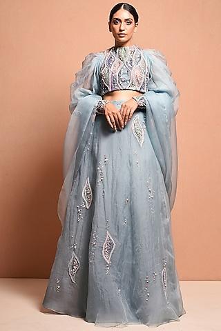 Sky Blue Hand Embellished Lehenga Set by Vivek Patel