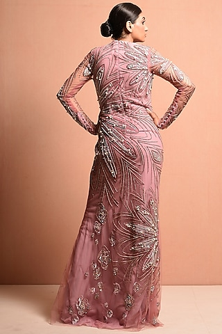 Blush Pink Sequins Embellished Gown by Vivek Patel