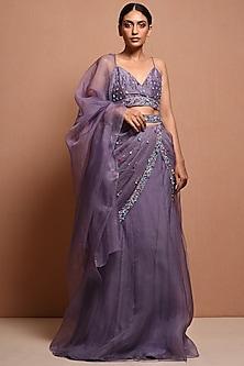 Purple Beads Embellished Saree Gown Set by Vivek Patel
