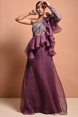 Mauve One Shoulder Embellished Gown by Vivek Patel