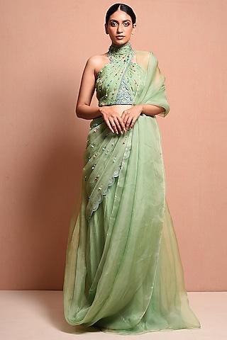 Mint Green Embellished Saree Gown Set by Vivek Patel