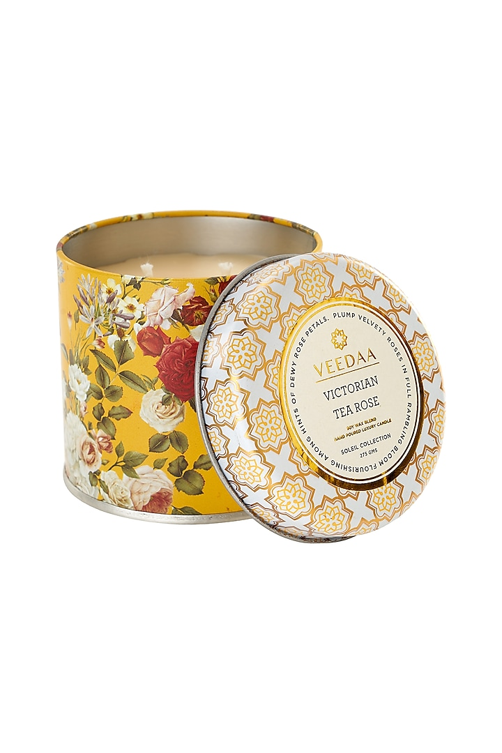 Multi Colored Victorian Tea Rose 3 Wick Tin Scented Candle by VEEDAA