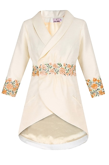 Cream Floral Embroidery Overlapped Asymmetric Long Jacket by Vidhi Anand