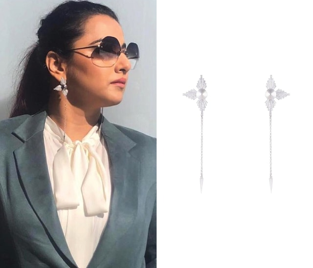 Silver Plated Textured Earrings by Flowerchild By Shaheen Abbas