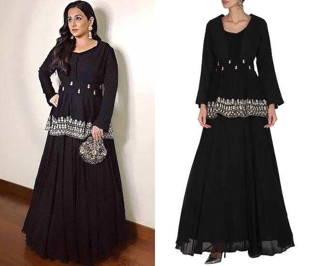 Black Embroidered Anarkali With Jacket & Belt by Bhumika Sharma