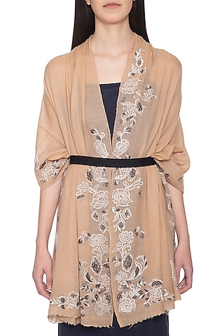 Peach embroidered floral stole by Vilasa