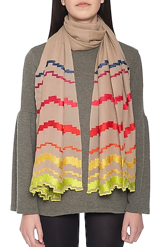 Mouse embroidered geometrical stole by Vilasa