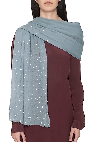 Light blue embroidered dyed stole by Vilasa