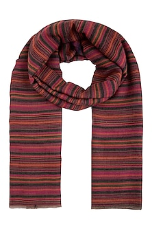 Multicolour stripes and solid reversible shawl by Vilasa