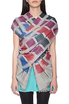 Multicolour handwoven geometric ikkat shawl by Vilasa