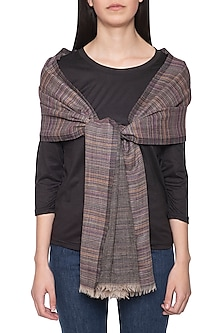 Black stripes and solid reversible stole by Vilasa
