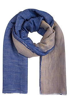 Blue wool and zari reversible stole by Vilasa