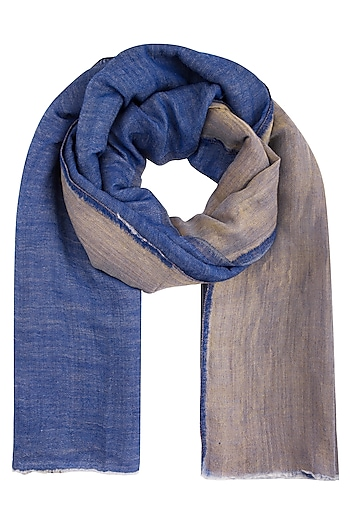 Blue wool and zari reversible stole by Vilasa
