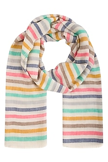 Multicolour handwoven stripes stole by Vilasa
