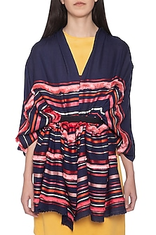 Navy blue embroidered stripes and fringes stole by Vilasa