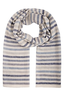 Blue handwoven tonal stripes stole by Vilasa