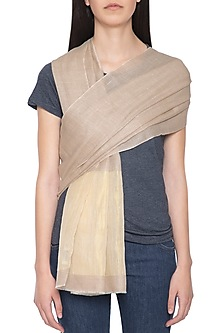Light brown handwoven zari stole by Vilasa