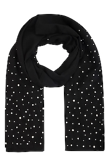 Black pearl embroidered stole by Vilasa