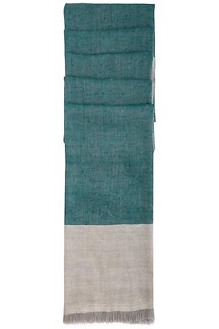 Teal handwoven colour block ikkat shawl by Vilasa