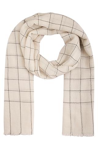 White handwoven checkered shawl by Vilasa
