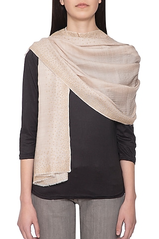 Off white embellished reversible stole by Vilasa