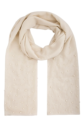 White embroidered stole by Vilasa