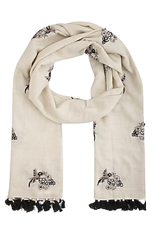 White embroidered hand woven stole by Vilasa