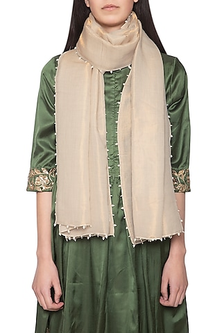 Off white embroidered reversible stole by Vilasa