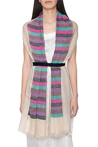 Off white handwoven striped stole by Vilasa
